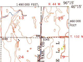 Reduced fragment of topographic map en--usgs--063k--052067--(1951)--N046-15_W096-30--N046-00_W096-15; towns and cities Tintah, Campbell, Doran