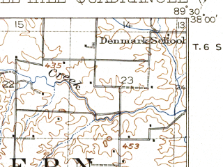 Reduced fragment of topographic map en--usgs--063k--052069--(1918)--N038-00_W089-45--N037-45_W089-30; towns and cities Campbell Hill, Rockwood, Willisville