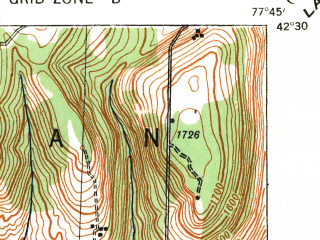 Reduced fragment of topographic map en--usgs--063k--052077--(1940)--N042-30_W078-00--N042-15_W077-45; towns and cities Alfred, Canaseraga