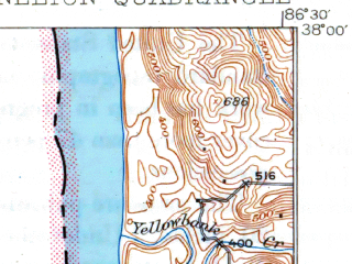 Reduced fragment of topographic map en--usgs--063k--052106--(1934)--N038-00_W086-45--N037-45_W086-30; towns and cities Cannelton, Cloverport