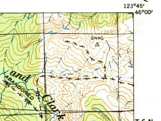 Reduced fragment of topographic map en--usgs--063k--052108--(1940)--N046-00_W124-00--N045-45_W123-45; towns and cities Seaside, Cannon Beach