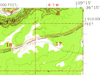 Reduced fragment of topographic map en--usgs--063k--052121--(1955)--N036-15_W109-30--N036-00_W109-15