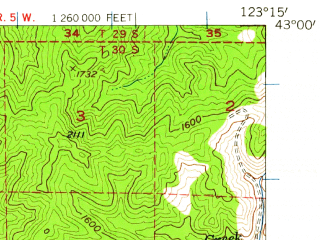 Reduced fragment of topographic map en--usgs--063k--052125--(1954)--N043-00_W123-30--N042-45_W123-15; towns and cities Canyonville, Riddle, Tri-city