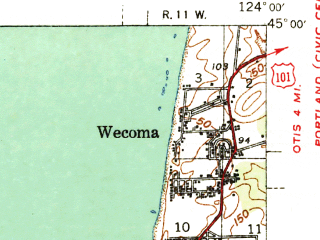 Reduced fragment of topographic map en--usgs--063k--052133--(1941)--N045-00_W124-15--N044-45_W124-00 in area of Siletz Bay; towns and cities Lincoln City, Depoe Bay, Lincoln Beach