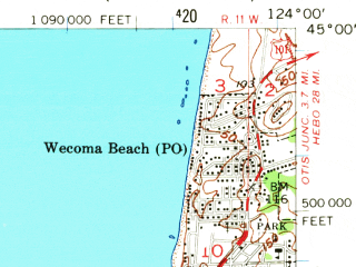Reduced fragment of topographic map en--usgs--063k--052133--(1957)--N045-00_W124-15--N044-45_W124-00 in area of Siletz Bay; towns and cities Lincoln City, Depoe Bay, Lincoln Beach