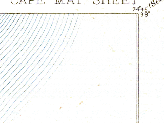 Reduced fragment of topographic map en--usgs--063k--052137--(1893)--N039-00_W075-00--N038-45_W074-45; towns and cities Erma, North Cape May, West Cape May