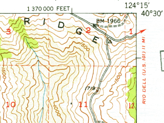Reduced fragment of topographic map en--usgs--063k--052156--(1950)--N040-30_W124-30--N040-15_W124-15
