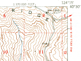 Reduced fragment of topographic map en--usgs--063k--052156--(1951)--N040-30_W124-30--N040-15_W124-15