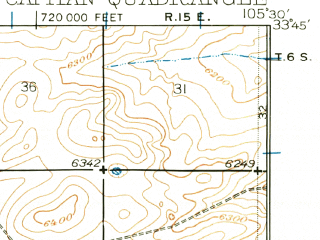 Reduced fragment of topographic map en--usgs--063k--052162--(1934)--N033-45_W105-45--N033-30_W105-30; towns and cities Capitan