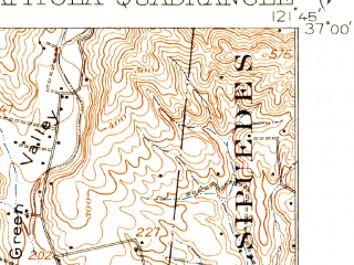 Reduced fragment of topographic map en--usgs--063k--052165--(1912)--N037-00_W122-00--N036-45_W121-45; towns and cities Watsonville, Opal Cliffs, Rio Del Mar, Soquel, Aptos Hills-larkin Valley