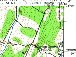 Reduced fragment of topographic map en--usgs--063k--052166--(1937)--N039-30_W078-30--N039-15_W078-15; towns and cities Capon Bridge