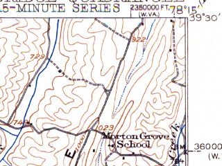 Reduced fragment of topographic map en--usgs--063k--052166--(1943)--N039-30_W078-30--N039-15_W078-15; towns and cities Capon Bridge