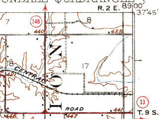 Reduced fragment of topographic map en--usgs--063k--052173--(1922)--N037-45_W089-15--N037-30_W089-00 in area of Devils Kitchen Lake, Little Grassy Lake; towns and cities Carbondale, Makanda