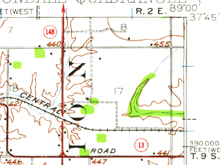 Reduced fragment of topographic map en--usgs--063k--052173--(1941)--N037-45_W089-15--N037-30_W089-00 in area of Devils Kitchen Lake, Little Grassy Lake; towns and cities Carbondale, Makanda