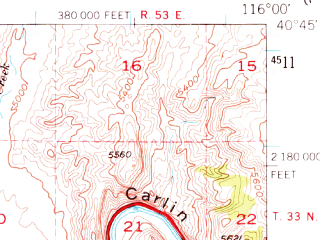Reduced fragment of topographic map en--usgs--063k--052182--(1952)--N040-45_W116-15--N040-30_W116-00; towns and cities Carlin