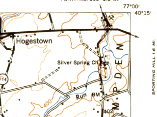 Reduced fragment of topographic map en--usgs--063k--052184--(1943)--N040-15_W077-15--N040-00_W077-00; towns and cities Carlisle, Mechanicsburg, Boiling Springs, Dillsburg, Franklintown