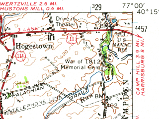 Reduced fragment of topographic map en--usgs--063k--052184--(1952)--N040-15_W077-15--N040-00_W077-00; towns and cities Carlisle, Mechanicsburg, Mount Holly Springs, Schlusser, York Springs