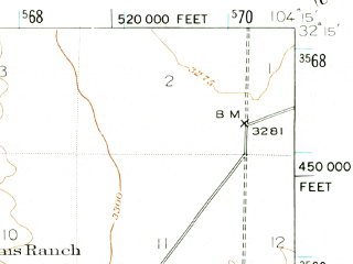 Reduced fragment of topographic map en--usgs--063k--052192--(1945)--N032-15_W104-30--N032-00_W104-15