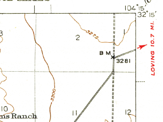 Reduced fragment of topographic map en--usgs--063k--052192--(1947)--N032-15_W104-30--N032-00_W104-15