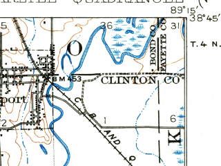 Reduced fragment of topographic map en--usgs--063k--052194--(1948)--N038-45_W089-30--N038-30_W089-15; towns and cities Bartelso, Beckemeyer, Carlyle