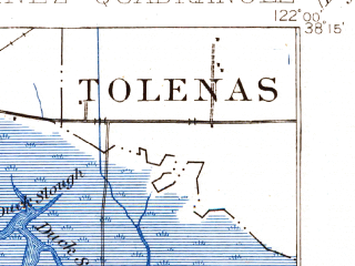 Reduced fragment of topographic map en--usgs--063k--052202--(1901)--N038-15_W122-15--N038-00_W122-00; towns and cities Martinez, Suisun City, Benicia, Crockett, Vine Hill