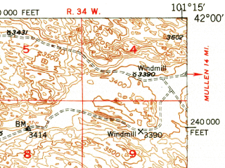 Reduced fragment of topographic map en--usgs--063k--052204--(1950)--N042-00_W101-30--N041-45_W101-15