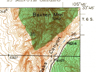 Reduced fragment of topographic map en--usgs--063k--052210--(1943)--N033-45_W106-00--N033-30_W105-45; towns and cities Carrizozo