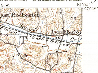 Reduced fragment of topographic map en--usgs--063k--052212--(1912)--N040-45_W081-15--N040-30_W081-00 in area of Lake Mohawk; towns and cities Malvern, Minerva, Carrollton