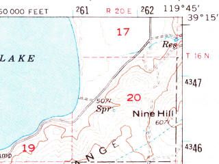 Reduced fragment of topographic map en--usgs--063k--052217--(1956)--N039-15_W120-00--N039-00_W119-45 in area of Marlette Lake; towns and cities Indian Hills