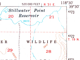 Reduced fragment of topographic map en--usgs--063k--052219--(1951)--N039-30_W118-45--N039-15_W118-30; towns and cities Fallon Station