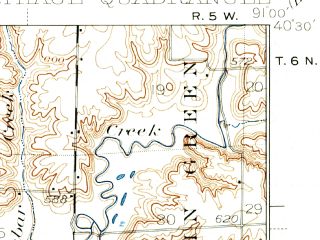 Reduced fragment of topographic map en--usgs--063k--052225--(1933)--N040-30_W091-15--N040-15_W091-00; towns and cities Basco, Bentley, Carthage