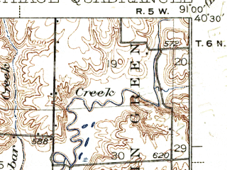 Reduced fragment of topographic map en--usgs--063k--052225--(1937)--N040-30_W091-15--N040-15_W091-00; towns and cities West Point, Basco, Bentley