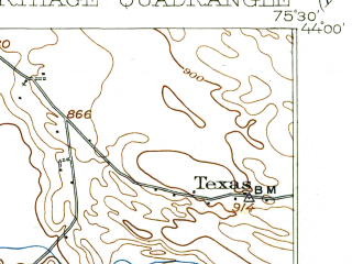 Reduced fragment of topographic map en--usgs--063k--052232--(1904)--N044-00_W075-45--N043-45_W075-30; towns and cities Carthage, Castorland, Copenhagen