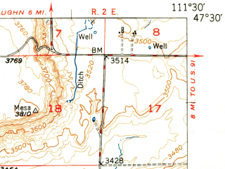 Reduced fragment of topographic map en--usgs--063k--052239--(1951)--N047-30_W111-45--N047-15_W111-30; towns and cities Cascade
