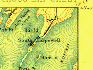 Reduced fragment of topographic map en--usgs--063k--052243--(1893)--N043-45_W070-15--N043-30_W070-00; towns and cities Falmouth Foreside