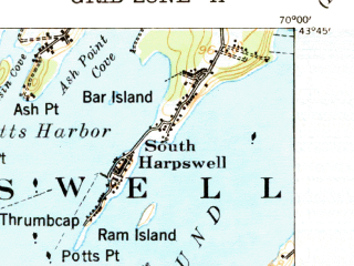 Reduced fragment of topographic map en--usgs--063k--052243--(1941)--N043-45_W070-15--N043-30_W070-00; towns and cities Falmouth Foreside