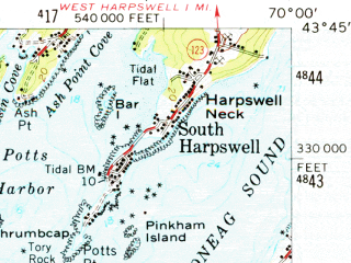 Reduced fragment of topographic map en--usgs--063k--052243--(1957)--N043-45_W070-15--N043-30_W070-00; towns and cities Falmouth Foreside