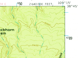 Reduced fragment of topographic map en--usgs--063k--052257--(1954)--N038-45_W109-30--N038-30_W109-15; towns and cities Castle Valley