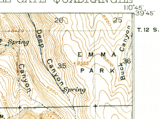 Reduced fragment of topographic map en--usgs--063k--052261--(1916)--N039-45_W111-00--N039-30_W110-45; towns and cities Price, Helper