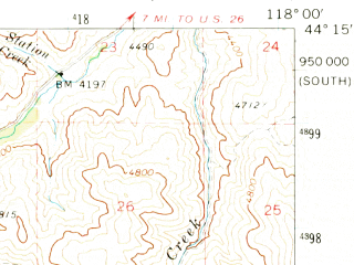 Reduced fragment of topographic map en--usgs--063k--052263--(1970)--N044-15_W118-15--N044-00_W118-00