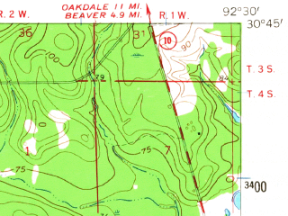 Reduced fragment of topographic map en--usgs--063k--052267--(1961)--N030-45_W092-45--N030-30_W092-30
