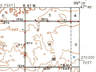 Reduced fragment of topographic map en--usgs--063k--052274--(1948)--N047-45_W099-30--N047-30_W099-15; towns and cities Cathay
