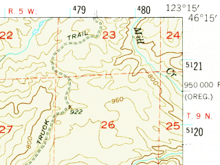 Reduced fragment of topographic map en--usgs--063k--052277--(1953)--N046-15_W123-30--N046-00_W123-15; towns and cities Cathlamet