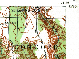 Reduced fragment of topographic map en--usgs--063k--052283--(1938)--N042-30_W079-00--N042-15_W078-45; towns and cities Cattaraugus, Gowanda