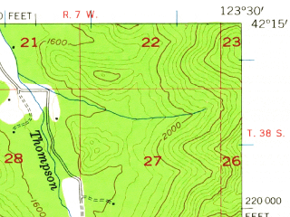 Reduced fragment of topographic map en--usgs--063k--052288--(1954)--N042-15_W123-45--N042-00_W123-30; towns and cities Cave Junction