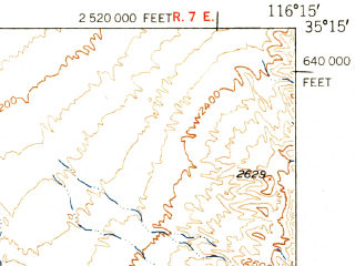 Reduced fragment of topographic map en--usgs--063k--052289--(1951)--N035-15_W116-30--N035-00_W116-15