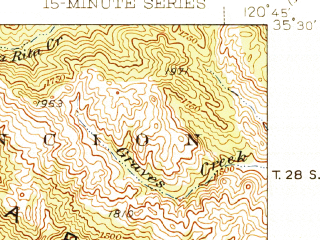 Reduced fragment of topographic map en--usgs--063k--052291--(1943)--N035-30_W121-00--N035-15_W120-45 in area of Morro Bay; towns and cities Los Osos, Morro Bay, Baywood Park, Cayucos