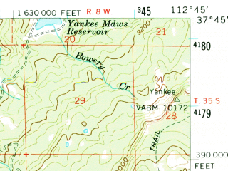 Reduced fragment of topographic map en--usgs--063k--052298--(1958)--N037-45_W113-00--N037-30_W112-45; towns and cities Brian Head