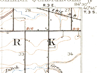 Reduced fragment of topographic map en--usgs--063k--052317--(1914)--N040-45_W084-45--N040-30_W084-30; towns and cities Celina, Mendon, Rockford