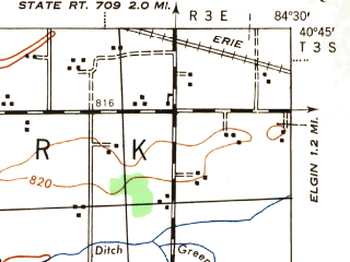 Reduced fragment of topographic map en--usgs--063k--052317--(1944)--N040-45_W084-45--N040-30_W084-30; towns and cities Celina, Mendon, Rockford